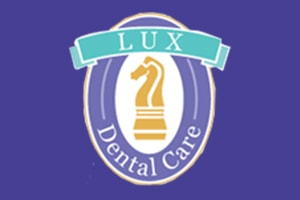 Lux Dental logo on a purple background