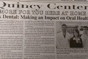 Clip of newspaper article of Lux Dental serving his community